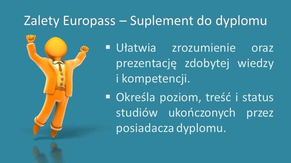 Zalety Europass – Suplement do dyplomu  Ułatwia zrozumienie oraz prezentację zdobytej wiedzy i kompetencji.  Określa poziom, treść i status studiów