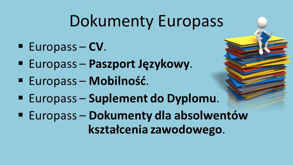 Dokumenty Europass  Europass – CV.  Europass – Paszport Językowy.  Europass – Mobilność.  Europass – Suplement do Dyplomu.  Europass – Dokumenty