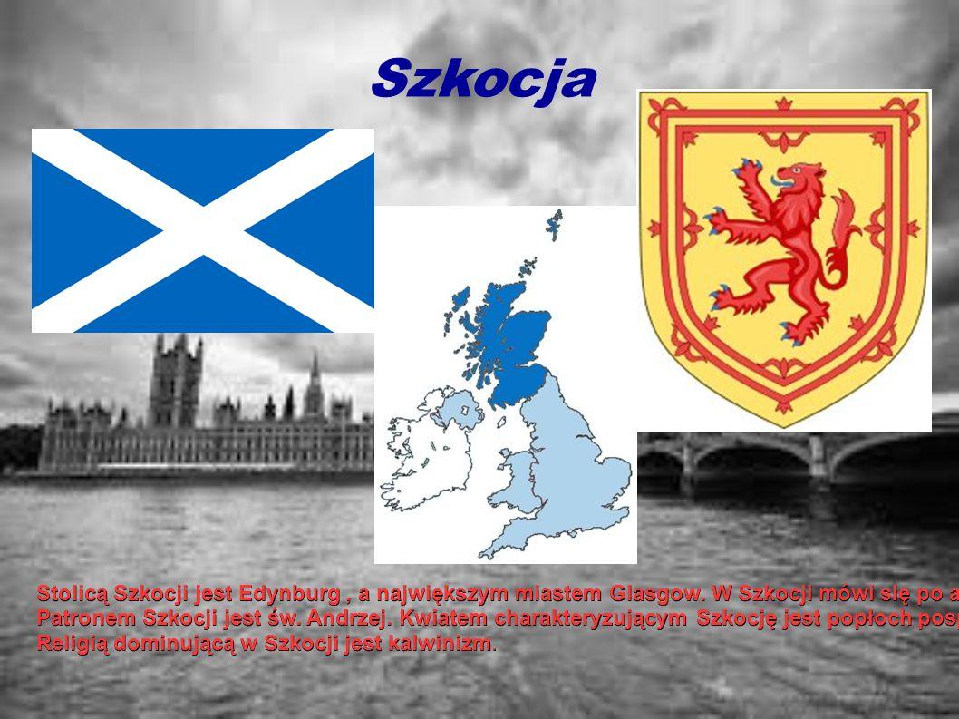 Szkocja Stolicą Szkocji jest Edynburg, a największym miastem Glasgow. W Szkocji mówi się po angielsku, szkocku, gealickiemu i językiem scots. Patronem