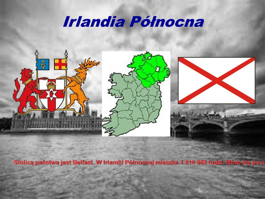 Irlandia Północna Stolicą państwa jest Belfast. W Irlandii Północnej mieszka 1 810 863 ludzi. Mówi się po angielsku, irlandzku i języku scots. Religią