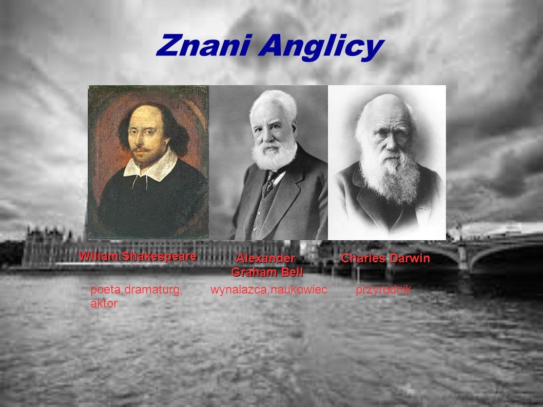Znani Anglicy Wiliam Shakespeare poeta,dramaturg, aktor Alexander Graham Bell Graham Bell wynalazca,naukowiec Charles Darwin przyrodnik