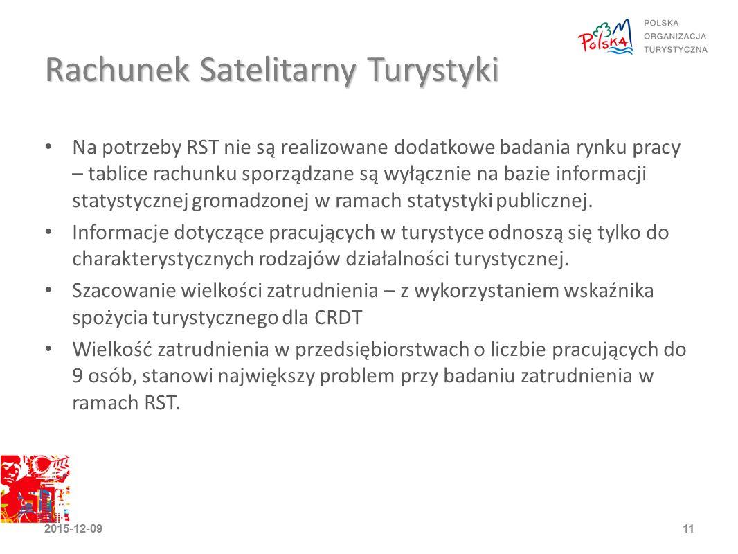Rachunek Satelitarny Turystyki Na potrzeby RST nie są realizowane dodatkowe badania rynku pracy – tablice rachunku sporządzane są wyłącznie na bazie informacji statystycznej gromadzonej w ramach statystyki publicznej.
