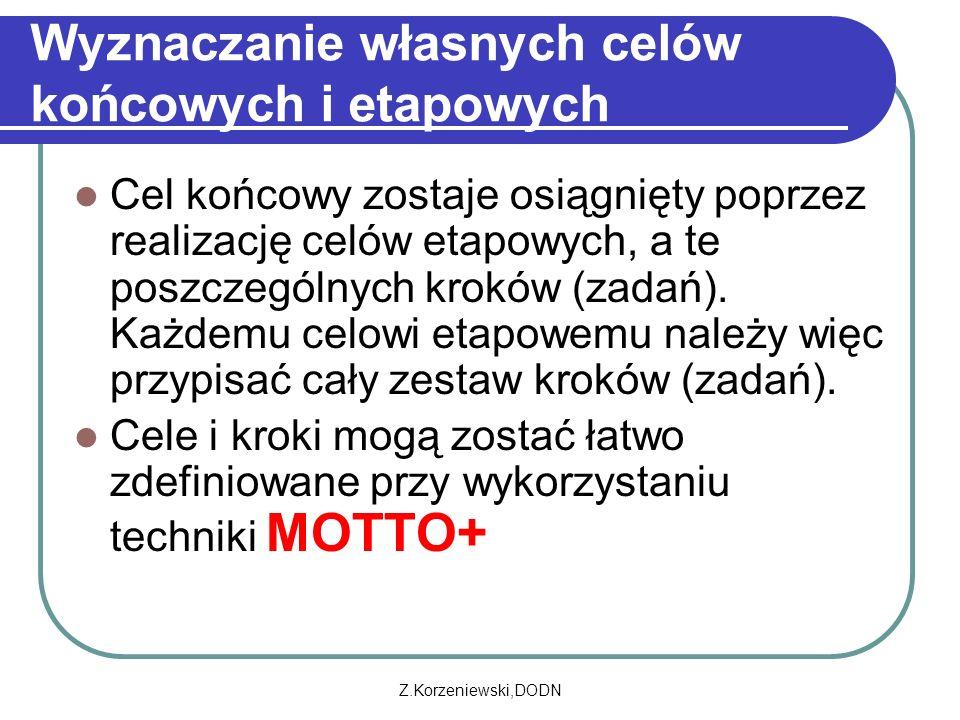 Z.Korzeniewski,DODN Wyznaczanie własnych celów końcowych i etapowych Cel końcowy zostaje osiągnięty poprzez realizację celów etapowych, a te poszczególnych kroków (zadań).