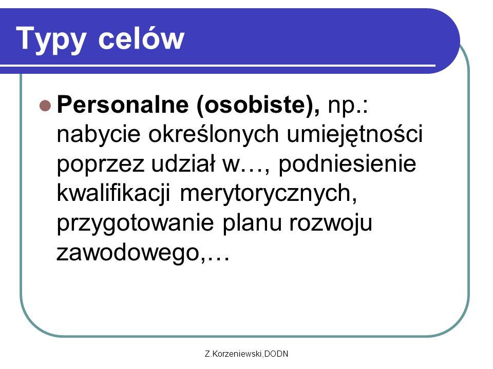 Z.Korzeniewski,DODN Typy celów Personalne (osobiste), np.: nabycie określonych umiejętności poprzez udział w…, podniesienie kwalifikacji merytorycznych, przygotowanie planu rozwoju zawodowego,…