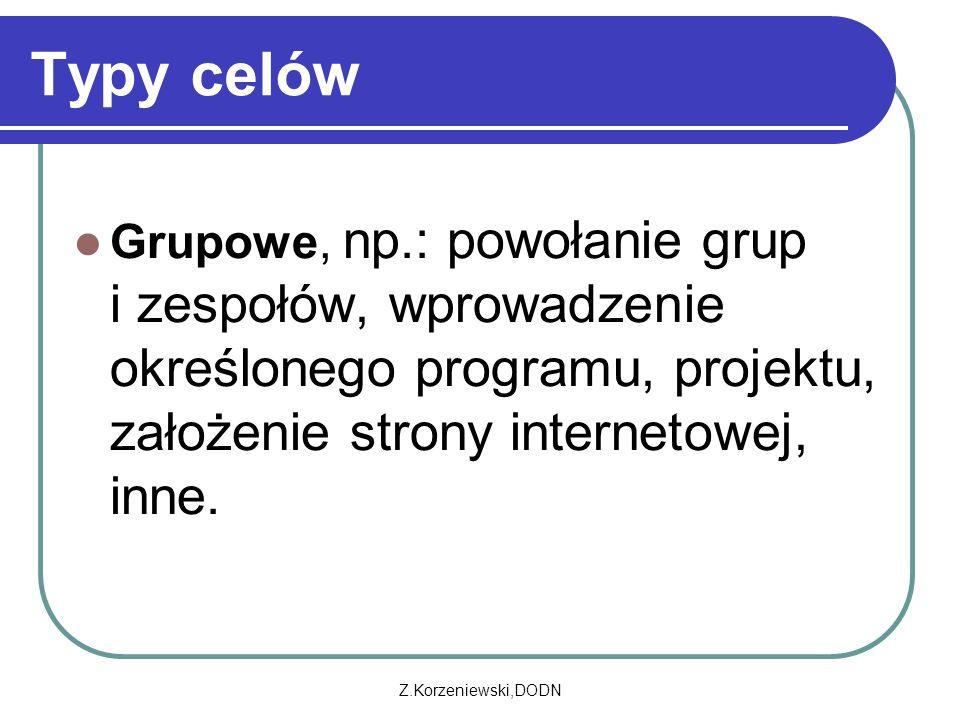 Z.Korzeniewski,DODN Typy celów Grupowe, np.: powołanie grup i zespołów, wprowadzenie określonego programu, projektu, założenie strony internetowej, inne.