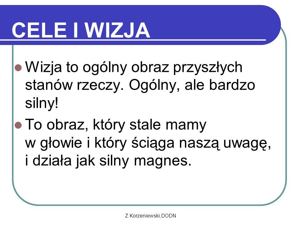 Z.Korzeniewski,DODN CELE I WIZJA Wizja to ogólny obraz przyszłych stanów rzeczy.