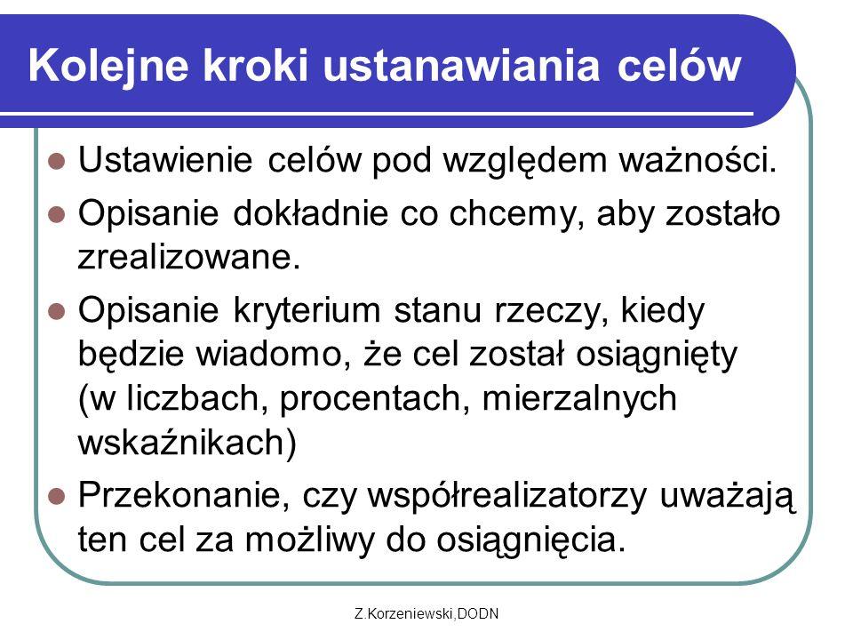 Z.Korzeniewski,DODN Kolejne kroki ustanawiania celów Ustawienie celów pod względem ważności. Opisanie dokładnie co chcemy, aby zostało zrealizowane. O