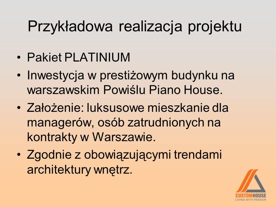 Przykładowa realizacja projektu Pakiet PLATINIUM Inwestycja w prestiżowym budynku na warszawskim Powiślu Piano House. Założenie: luksusowe mieszkanie