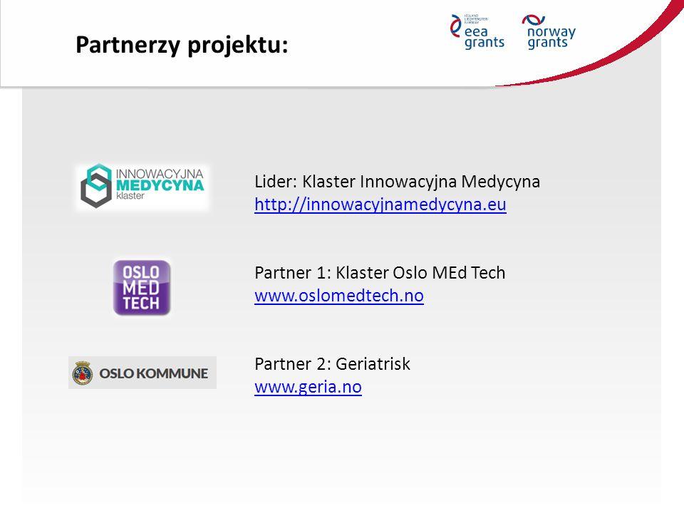 Lider: Klaster Innowacyjna Medycyna http://innowacyjnamedycyna.eu Partner 1: Klaster Oslo MEd Tech www.oslomedtech.no Partner 2: Geriatrisk www.geria.no Partnerzy projektu: