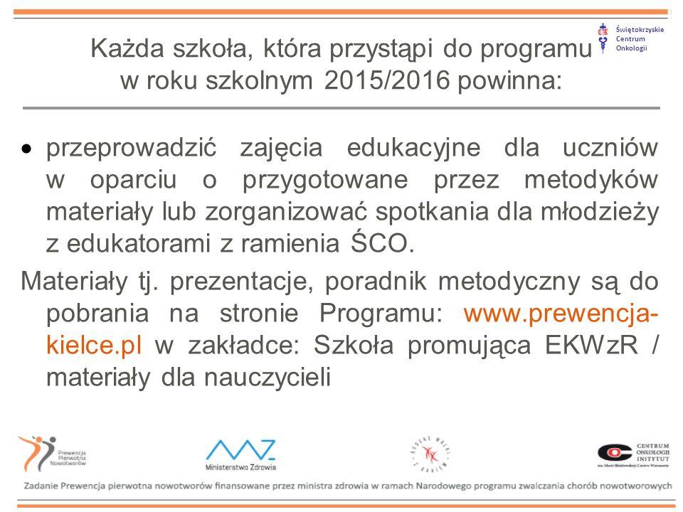 Świętokrzyskie Centrum Onkologii  przekazać raz na kwartał sprawozdanie potwierdzające realizację zajęć w szkole, w tym: sprawozdanie za tegoroczne działania do 10 grudnia 2015, za I kwartał 2016 r.