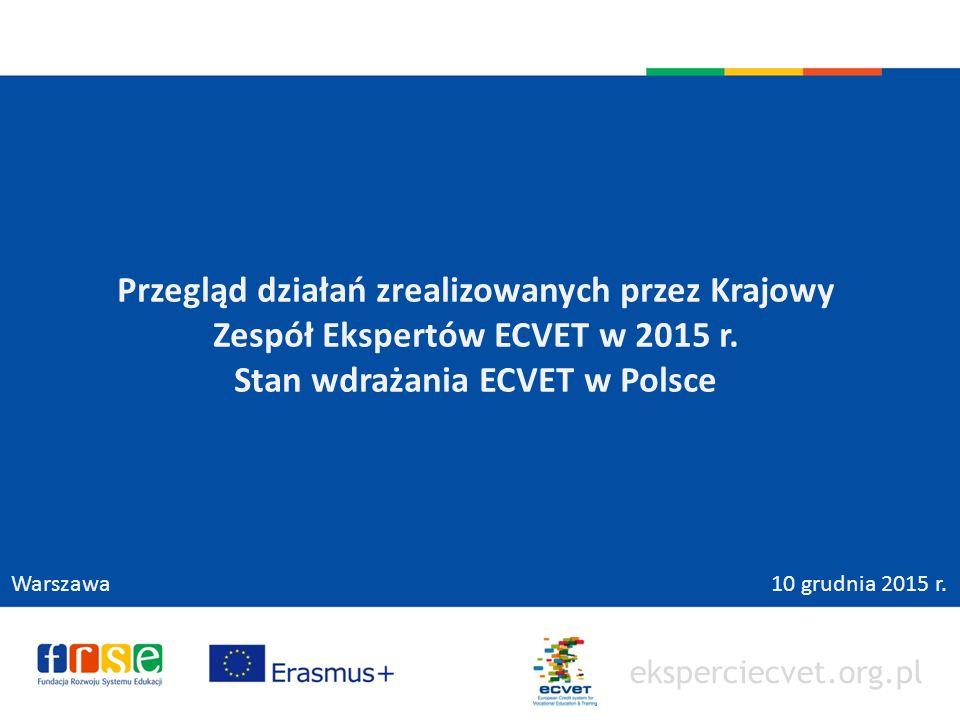eksperciecvet.org.pl Przegląd działań zrealizowanych przez Krajowy Zespół Ekspertów ECVET w 2015 r.