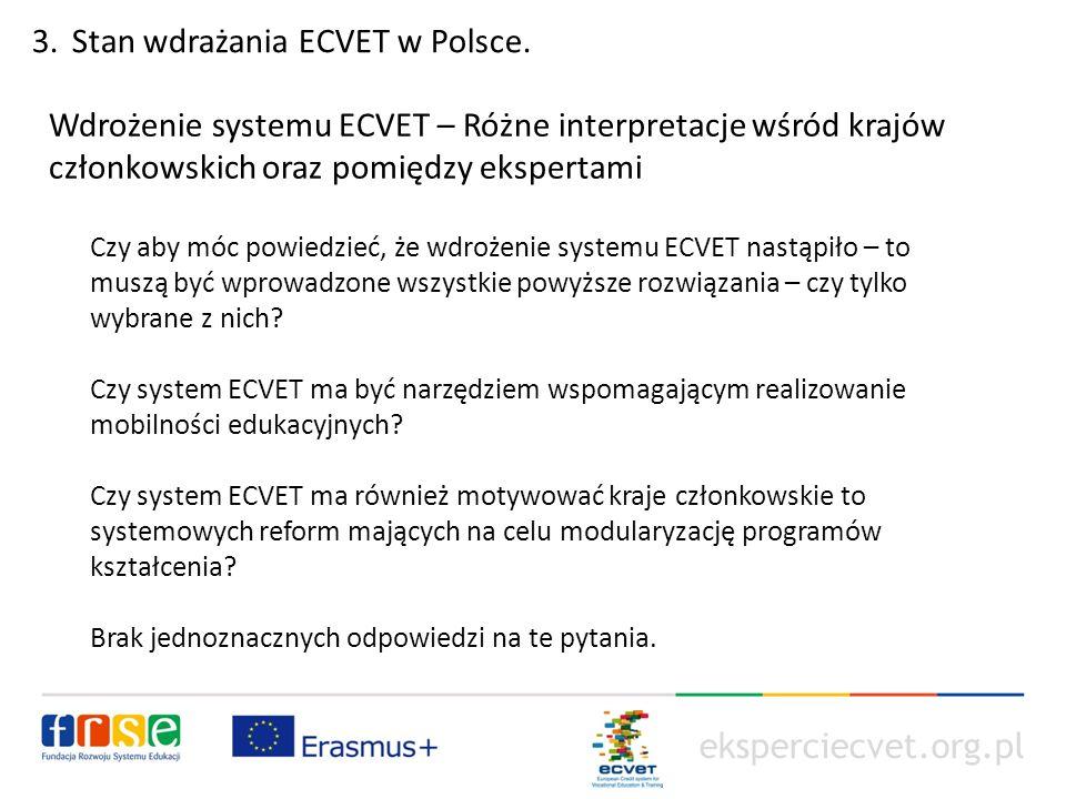 eksperciecvet.org.pl Wdrożenie systemu ECVET – Różne interpretacje wśród krajów członkowskich oraz pomiędzy ekspertami Czy aby móc powiedzieć, że wdrożenie systemu ECVET nastąpiło – to muszą być wprowadzone wszystkie powyższe rozwiązania – czy tylko wybrane z nich.
