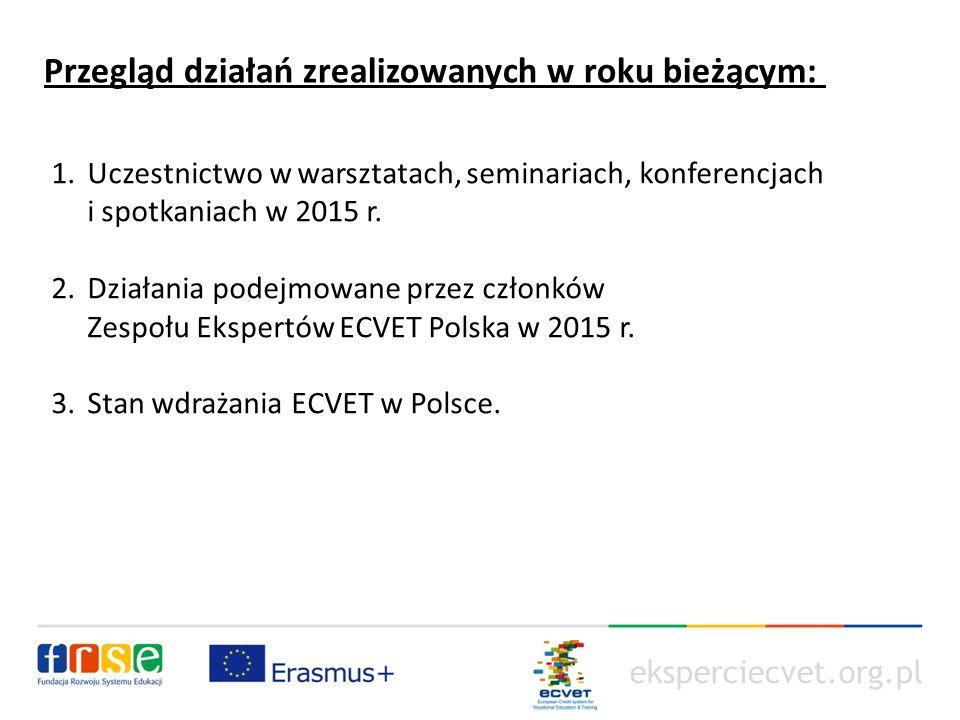"""eksperciecvet.org.pl W roku 2015 Eksperci organizowali oraz brali udział w następujących wydarzeniach: warsztaty dla beneficjentów projektów mobilnościwych: """"Warsztaty dotyczące realizacji systemu ECVET w projektach mobilności w sektorze VET 25 września 2015 r."""