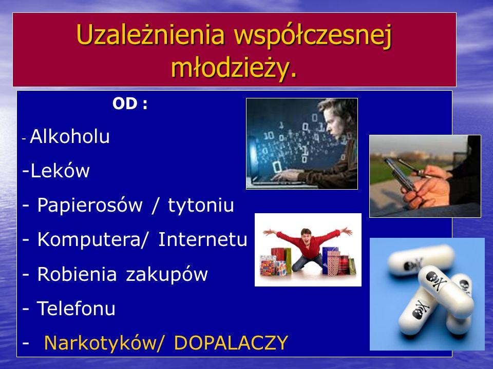 Uzależnienia współczesnej młodzieży. OD : - Alkoholu -Leków - Papierosów / tytoniu - Komputera/ Internetu - Robienia zakupów - Telefonu - Narkotyków/