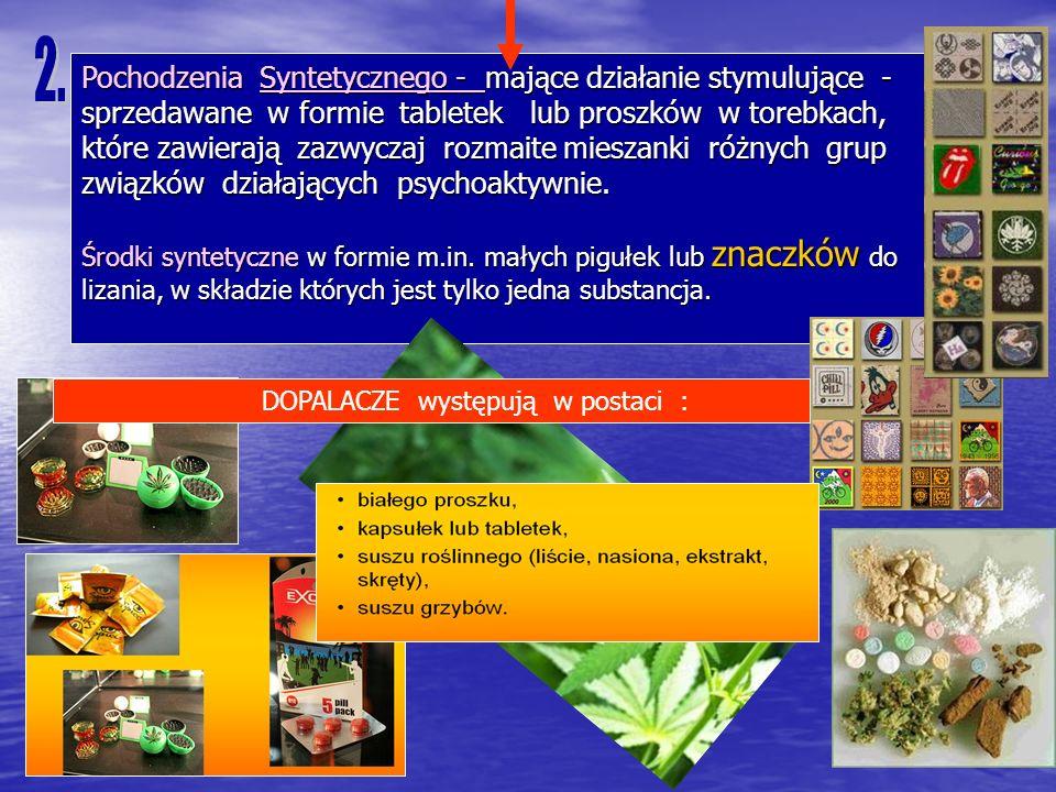 Pochodzenia Syntetycznego - mające działanie stymulujące - sprzedawane w formie tabletek lub proszków w torebkach, które zawierają zazwyczaj rozmaite