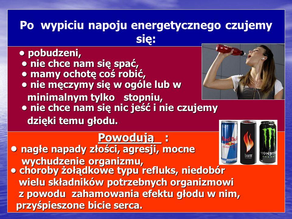 Po wypiciu napoju energetycznego czujemy się: pobudzeni, nie chce nam się spać, mamy ochotę coś robić, nie męczymy się w ogóle lub w pobudzeni, nie ch