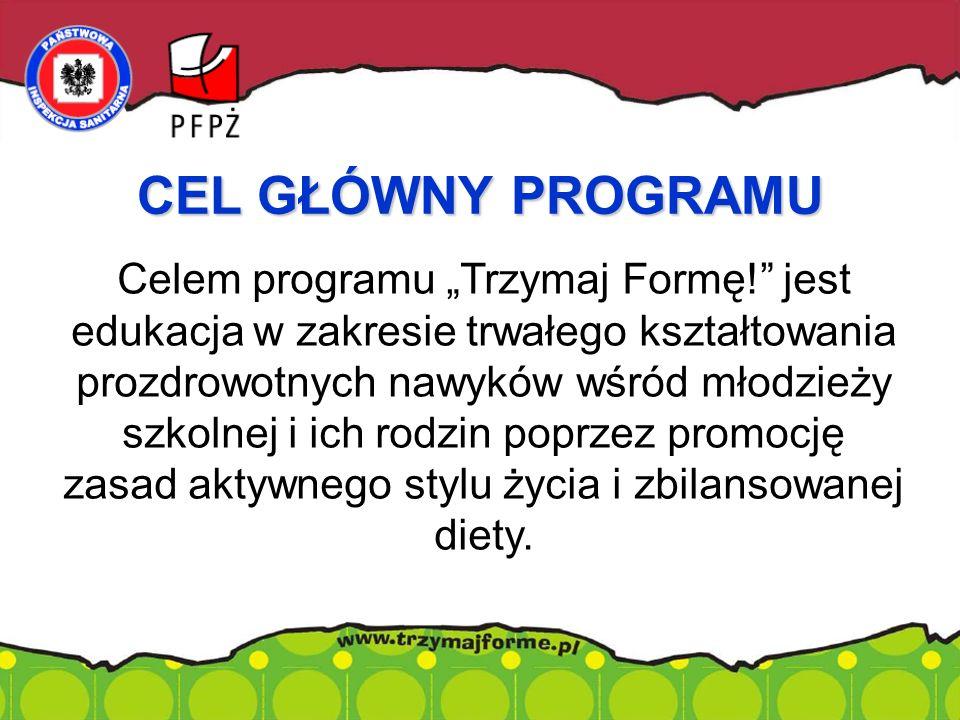 """Celem programu """"Trzymaj Formę! jest edukacja w zakresie trwałego kształtowania prozdrowotnych nawyków wśród młodzieży szkolnej i ich rodzin poprzez promocję zasad aktywnego stylu życia i zbilansowanej diety."""