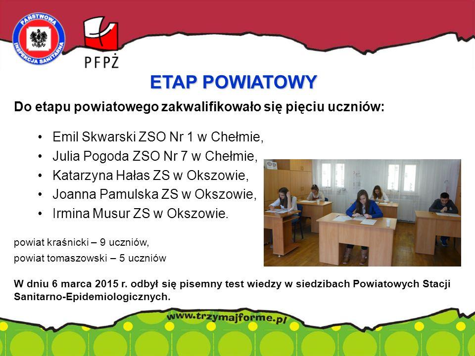 Do etapu powiatowego zakwalifikowało się pięciu uczniów: Emil Skwarski ZSO Nr 1 w Chełmie, Julia Pogoda ZSO Nr 7 w Chełmie, Katarzyna Hałas ZS w Okszowie, Joanna Pamulska ZS w Okszowie, Irmina Musur ZS w Okszowie.