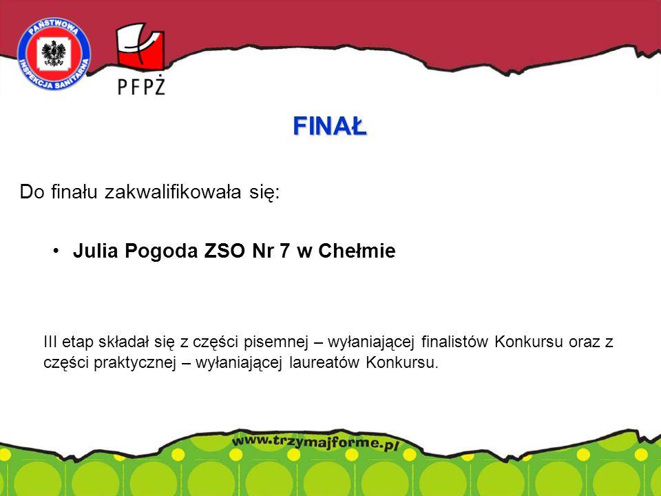 Do finału zakwalifikowała się: Julia Pogoda ZSO Nr 7 w Chełmie III etap składał się z części pisemnej – wyłaniającej finalistów Konkursu oraz z części praktycznej – wyłaniającej laureatów Konkursu.