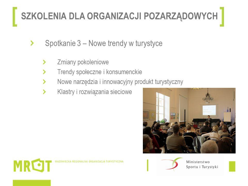Spotkanie 3 – Nowe trendy w turystyce Zmiany pokoleniowe Trendy społeczne i konsumenckie Nowe narzędzia i innowacyjny produkt turystyczny Klastry i rozwiązania sieciowe SZKOLENIA DLA ORGANIZACJI POZARZĄDOWYCH