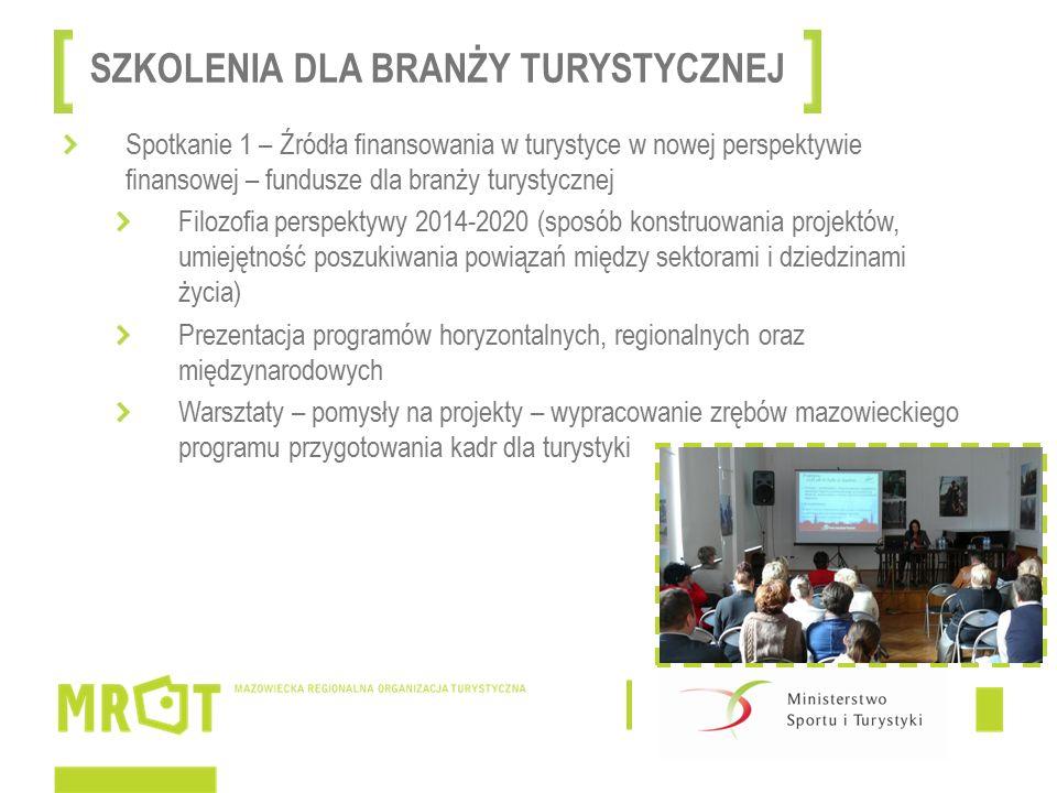 Spotkanie 1 – Źródła finansowania w turystyce w nowej perspektywie finansowej – fundusze dla branży turystycznej Filozofia perspektywy 2014-2020 (sposób konstruowania projektów, umiejętność poszukiwania powiązań między sektorami i dziedzinami życia) Prezentacja programów horyzontalnych, regionalnych oraz międzynarodowych Warsztaty – pomysły na projekty – wypracowanie zrębów mazowieckiego programu przygotowania kadr dla turystyki SZKOLENIA DLA BRANŻY TURYSTYCZNEJ