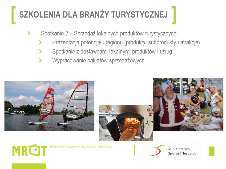 Spotkanie 2 – Sprzedaż lokalnych produktów turystycznych Prezentacja potencjału regionu (produkty, subprodukty i atrakcje) Spotkanie z dostawcami lokalnymi produktów i usług Wypracowanie pakietów sprzedażowych SZKOLENIA DLA BRANŻY TURYSTYCZNEJ
