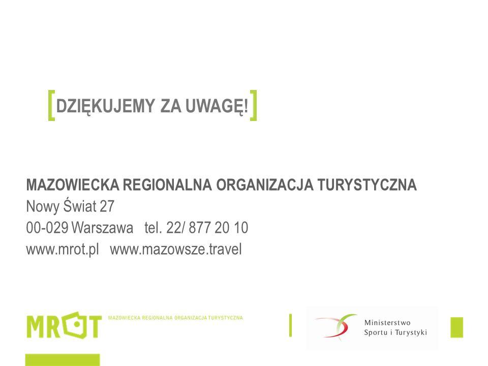 MAZOWIECKA REGIONALNA ORGANIZACJA TURYSTYCZNA Nowy Świat 27 00-029 Warszawa tel.