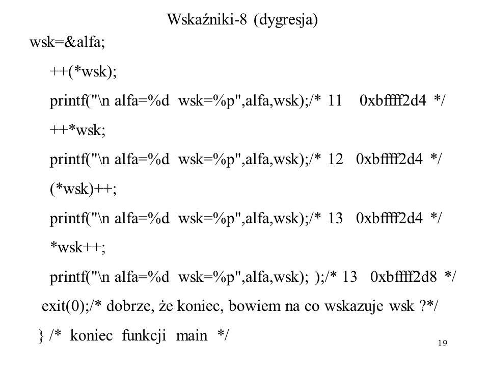 19 Wskaźniki-8 (dygresja) wsk=&alfa; ++(*wsk); printf( \n alfa=%d wsk=%p ,alfa,wsk);/* 11 0xbffff2d4 */ ++*wsk; printf( \n alfa=%d wsk=%p ,alfa,wsk);/* 12 0xbffff2d4 */ (*wsk)++; printf( \n alfa=%d wsk=%p ,alfa,wsk);/* 13 0xbffff2d4 */ *wsk++; printf( \n alfa=%d wsk=%p ,alfa,wsk); );/* 13 0xbffff2d8 */ exit(0);/* dobrze, że koniec, bowiem na co wskazuje wsk */ } /* koniec funkcji main */