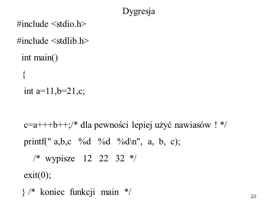 20 Dygresja #include int main() { int a=11,b=21,c; c=a+++b++;/* dla pewności lepiej użyć nawiasów .