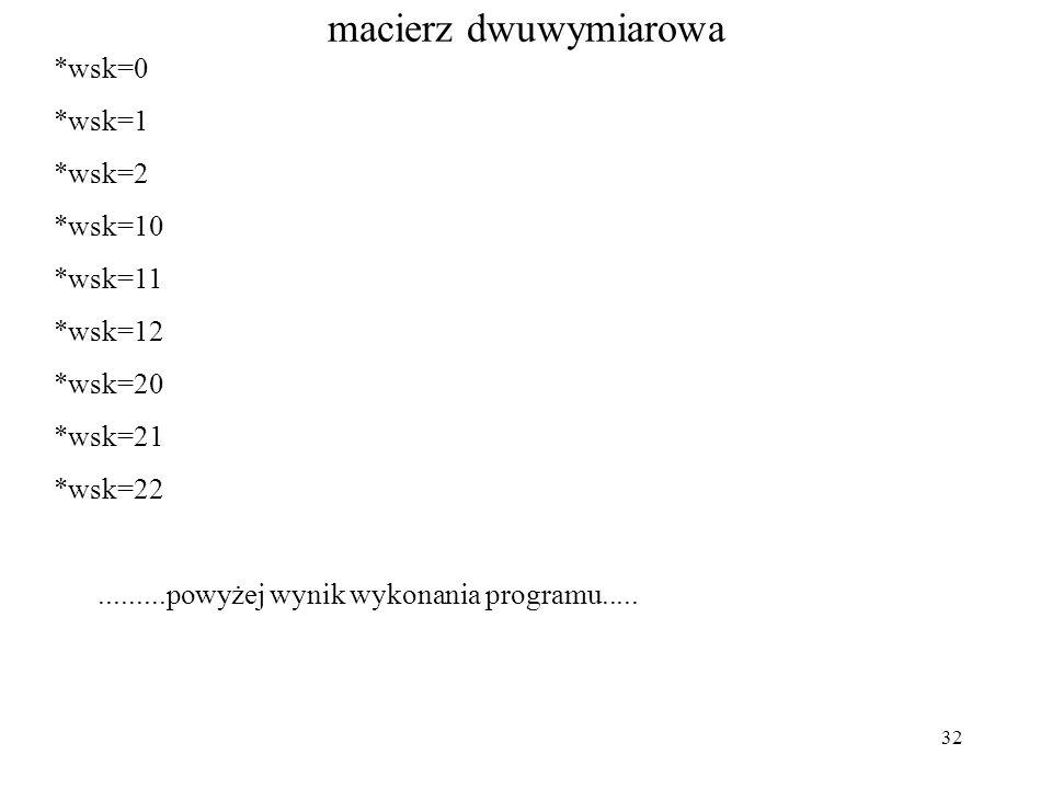 32 macierz dwuwymiarowa *wsk=0 *wsk=1 *wsk=2 *wsk=10 *wsk=11 *wsk=12 *wsk=20 *wsk=21 *wsk=22.........powyżej wynik wykonania programu.....