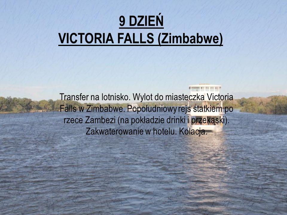 9 DZIEŃ VICTORIA FALLS (Zimbabwe) Transfer na lotnisko. Wylot do miasteczka Victoria Falls w Zimbabwe. Popołudniowy rejs statkiem po rzece Zambezi (na