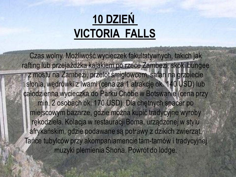 10 DZIEŃ VICTORIA FALLS Czas wolny. Możliwość wycieczek fakultatywnych, takich jak rafting lub przejażdżka kajakiem po rzece Zambezi, skoki bungee z m