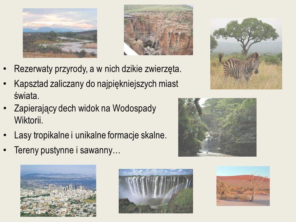 Rezerwaty przyrody, a w nich dzikie zwierzęta. Tereny pustynne i sawanny… Lasy tropikalne i unikalne formacje skalne. Zapierający dech widok na Wodosp