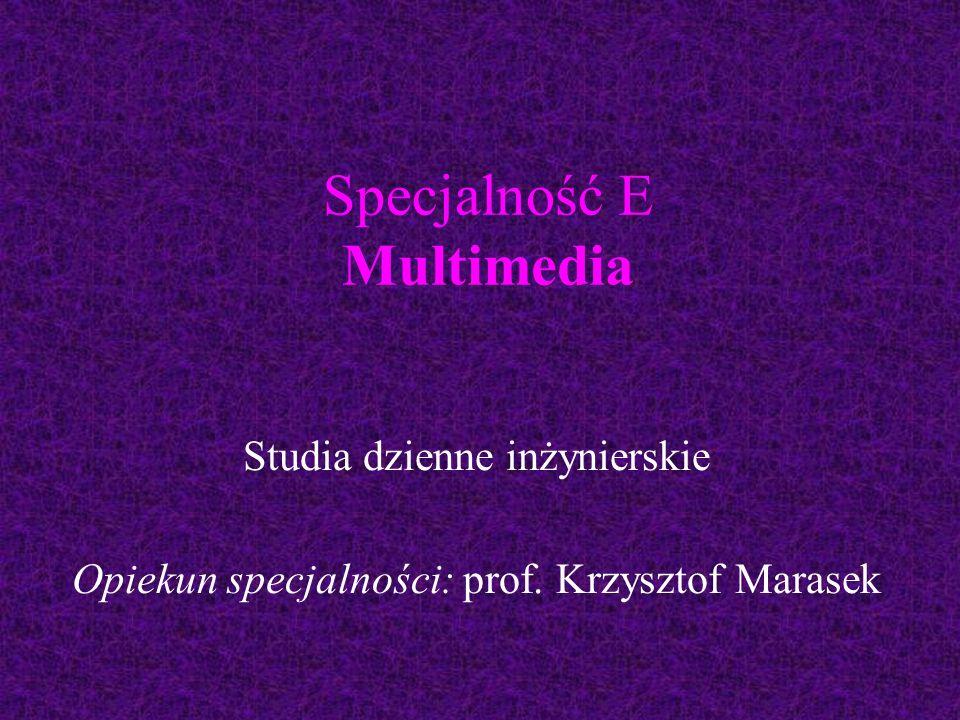Specjalność E Multimedia Studia dzienne inżynierskie Opiekun specjalności: prof. Krzysztof Marasek