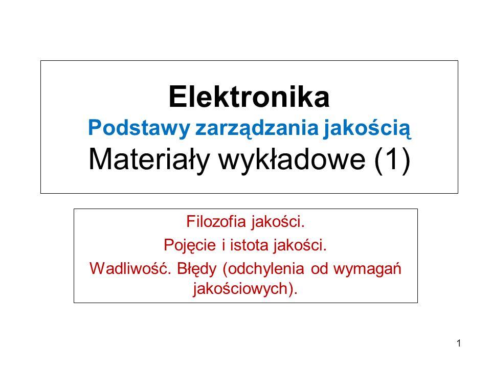 Elektronika Podstawy zarządzania jakością Materiały wykładowe (1) Filozofia jakości.