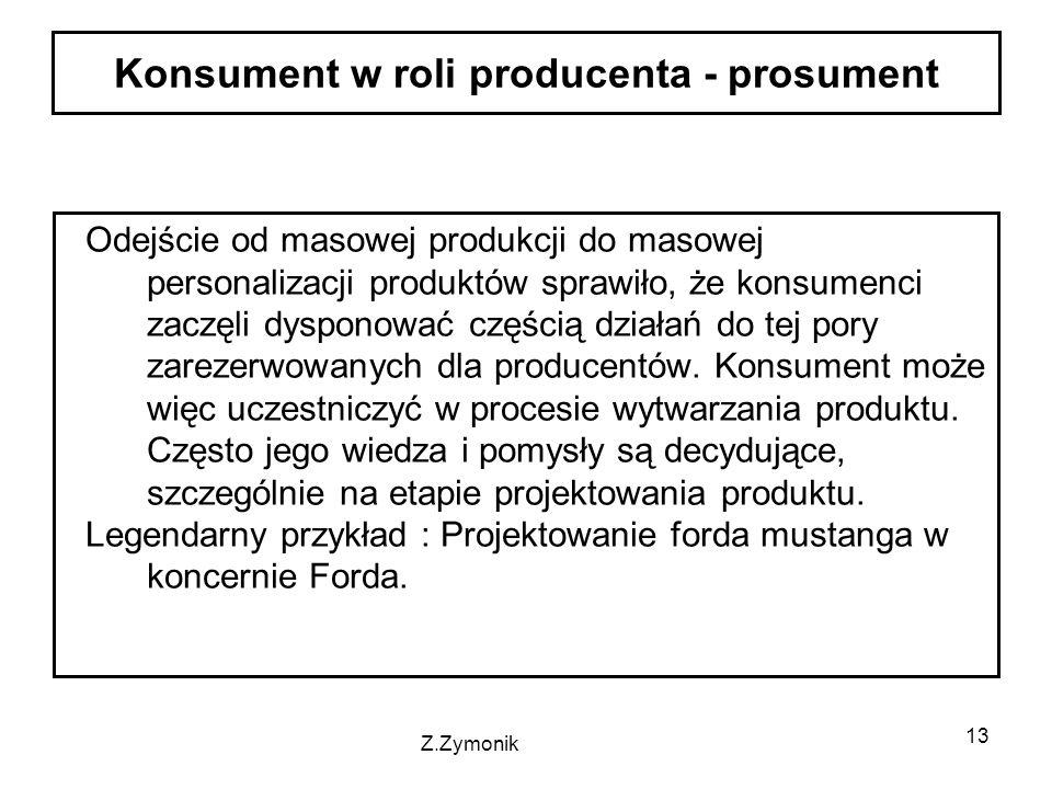 13 Odejście od masowej produkcji do masowej personalizacji produktów sprawiło, że konsumenci zaczęli dysponować częścią działań do tej pory zarezerwowanych dla producentów.