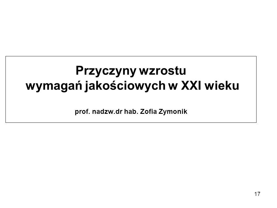 Przyczyny wzrostu wymagań jakościowych w XXI wieku prof. nadzw.dr hab. Zofia Zymonik 17