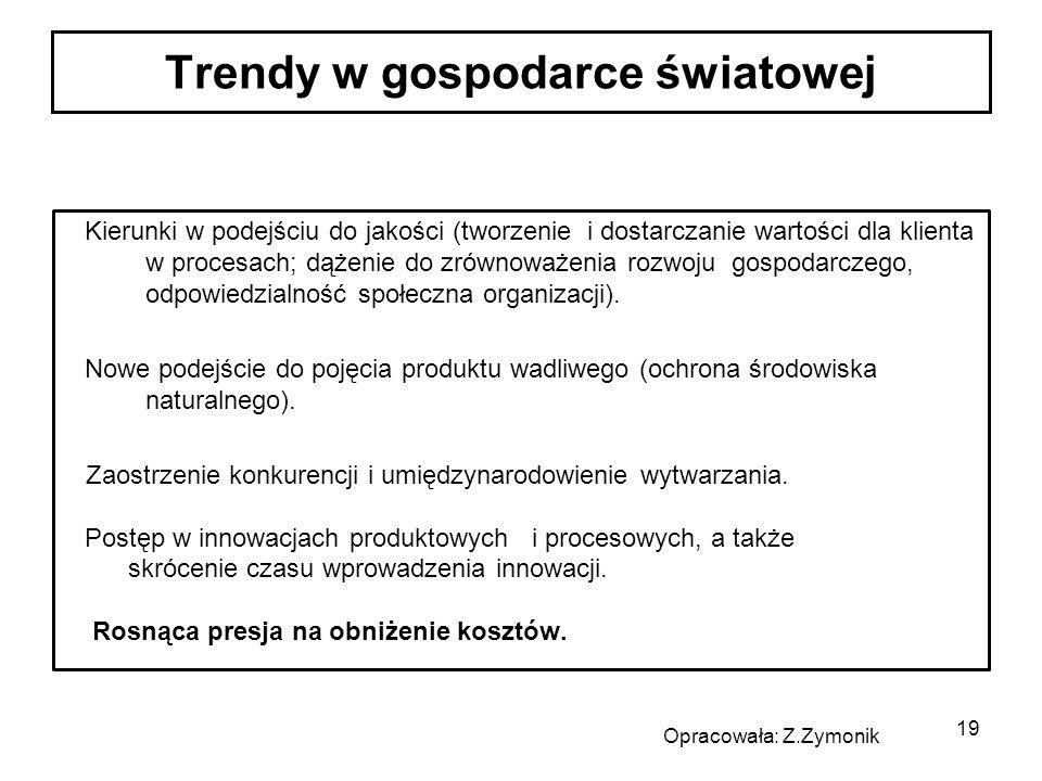 19 Kierunki w podejściu do jakości (tworzenie i dostarczanie wartości dla klienta w procesach; dążenie do zrównoważenia rozwoju gospodarczego, odpowiedzialność społeczna organizacji).