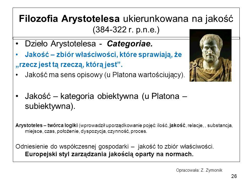 Filozofia Arystotelesa ukierunkowana na jakość (384-322 r.