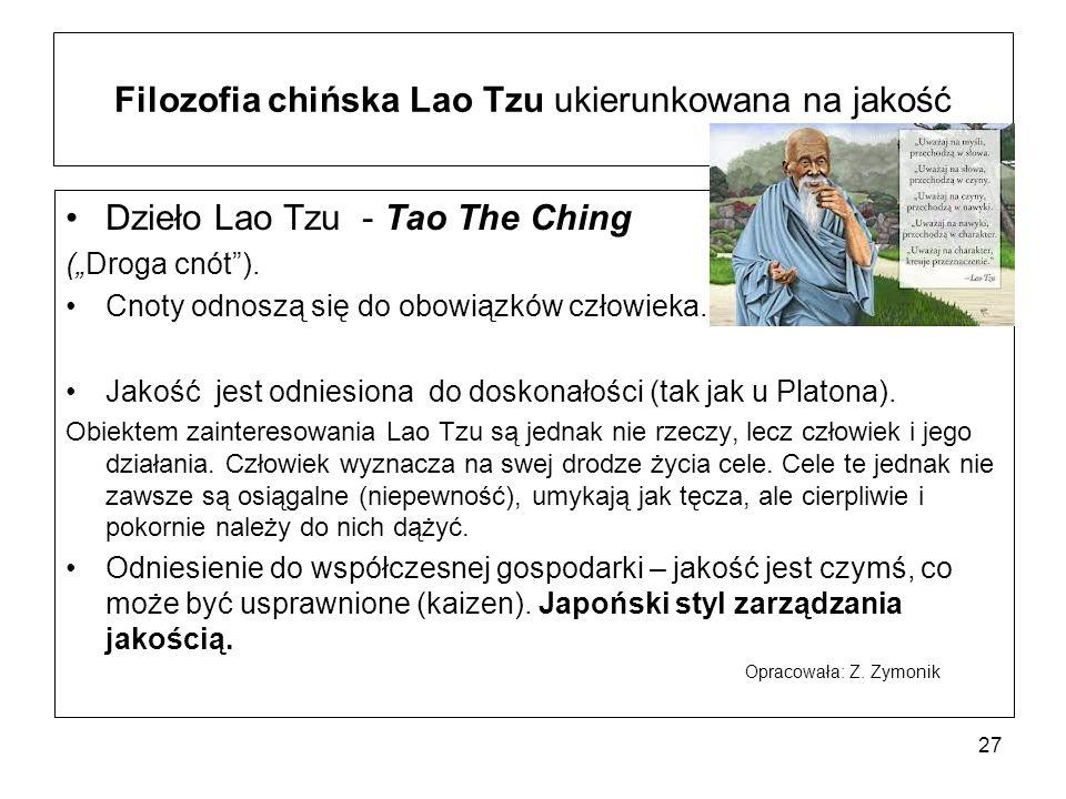 """Filozofia chińska Lao Tzu ukierunkowana na jakość Dzieło Lao Tzu - Tao The Ching (""""Droga cnót )."""