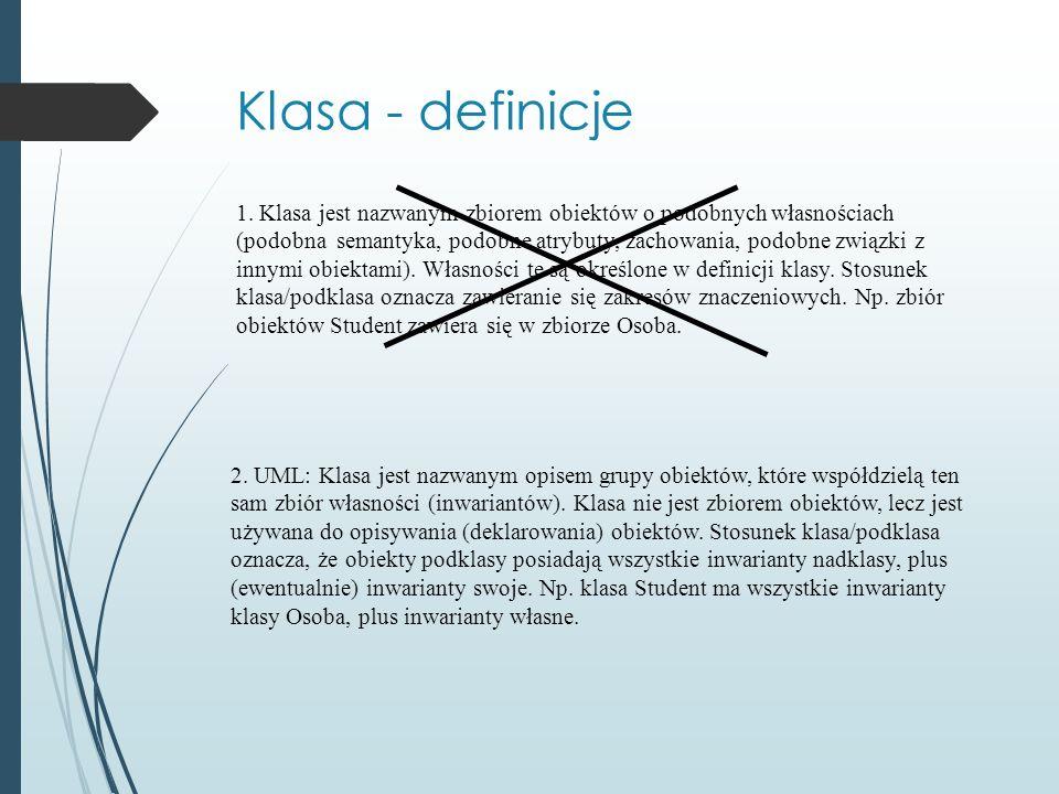 Klasa - definicje 1. Klasa jest nazwanym zbiorem obiektów o podobnych własnościach (podobna semantyka, podobne atrybuty, zachowania, podobne związki z