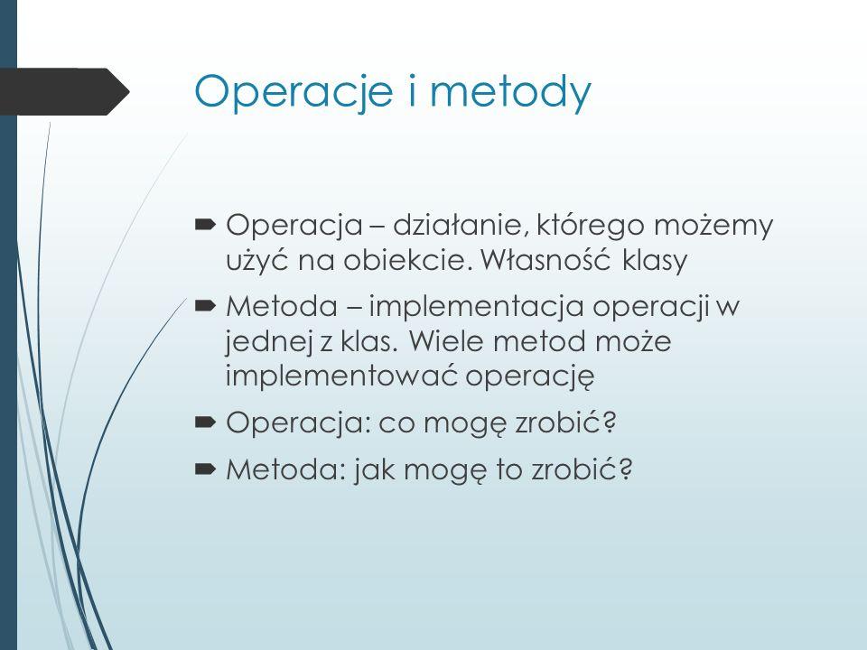 Operacje i metody  Operacja – działanie, którego możemy użyć na obiekcie. Własność klasy  Metoda – implementacja operacji w jednej z klas. Wiele met
