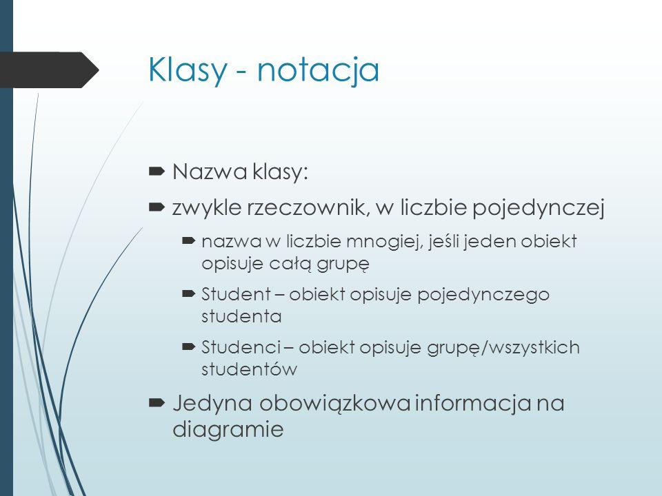 Klasy - notacja  Nazwa klasy:  zwykle rzeczownik, w liczbie pojedynczej  nazwa w liczbie mnogiej, jeśli jeden obiekt opisuje całą grupę  Student – obiekt opisuje pojedynczego studenta  Studenci – obiekt opisuje grupę/wszystkich studentów  Jedyna obowiązkowa informacja na diagramie