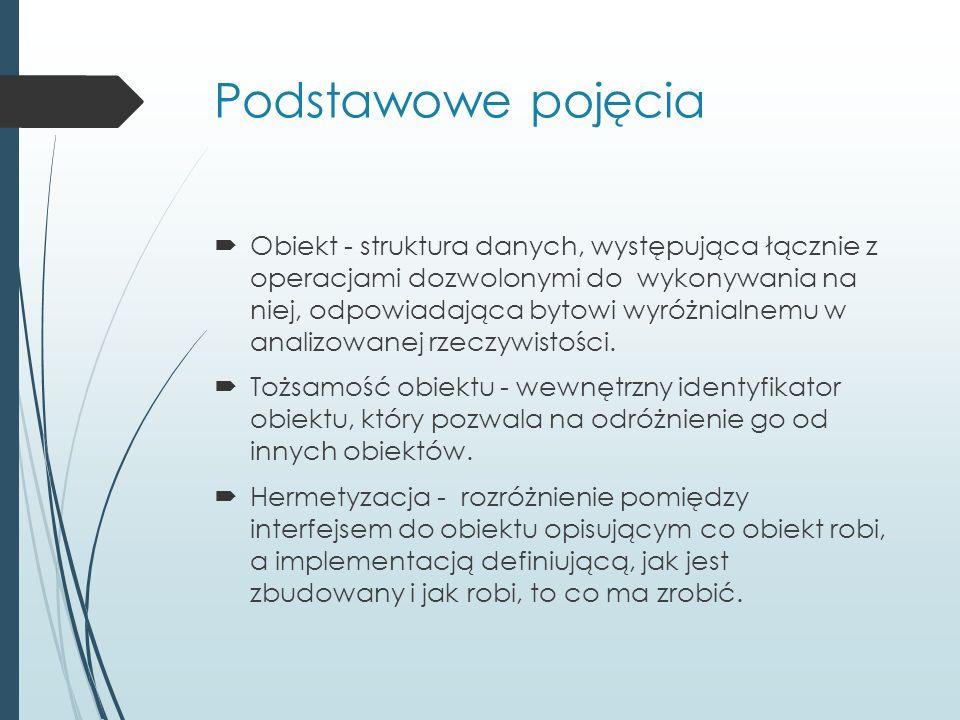 Podstawowe pojęcia  Klasa - zbiór własności grupy obiektów o tych samych charakterystykach.