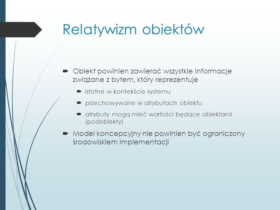Relatywizm obiektów  Obiekt powinien zawierać wszystkie informacje związane z bytem, który reprezentuje  istotne w kontekście systemu  przechowywane w atrybutach obiektu  atrybuty mogą mieć wartości będące obiektami (podobiekty)  Model koncepcyjny nie powinien być ograniczony środowiskiem implementacji