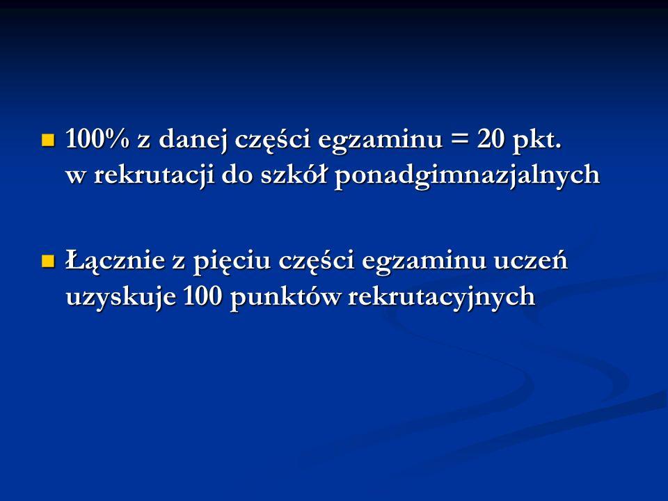 100% z danej części egzaminu = 20 pkt.