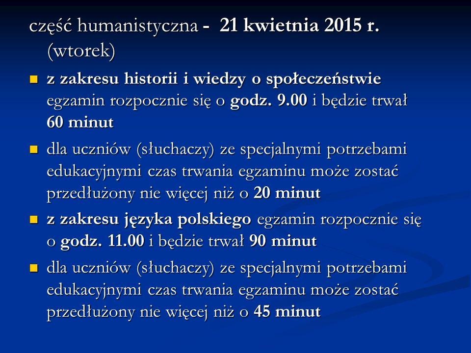 część humanistyczna - 21 kwietnia 2015 r.