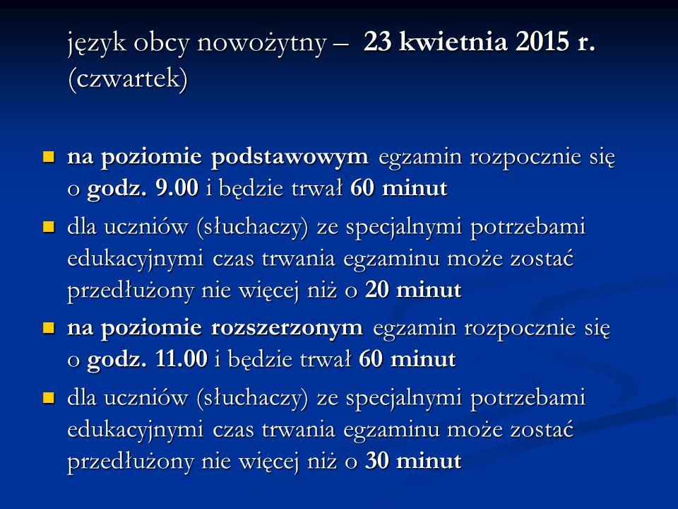 język obcy nowożytny – 23 kwietnia 2015 r.