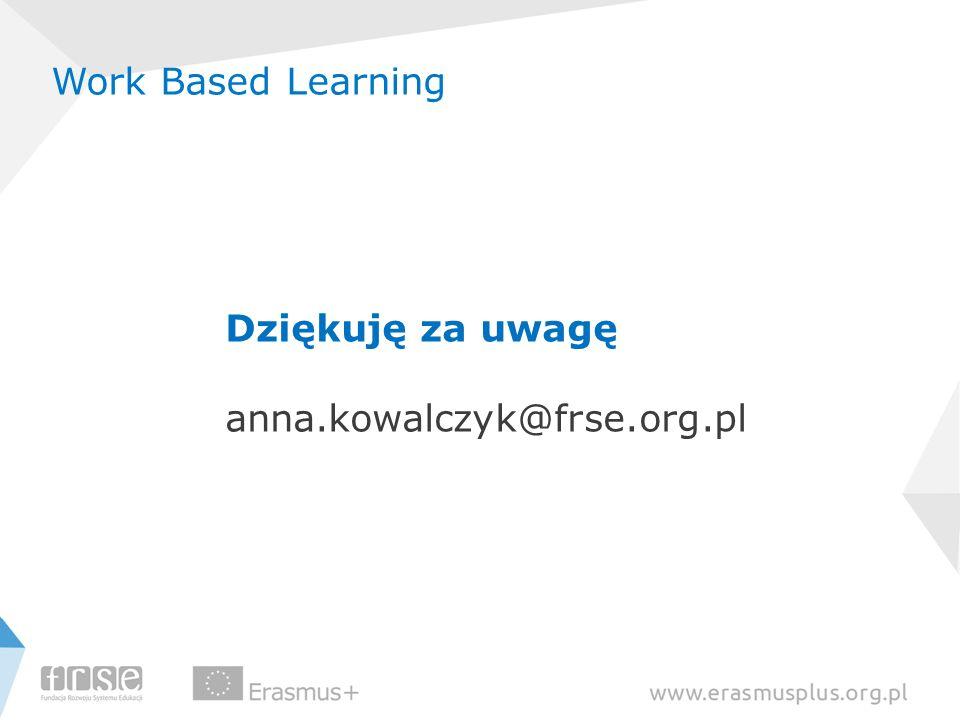 Work Based Learning Dziękuję za uwagę anna.kowalczyk@frse.org.pl