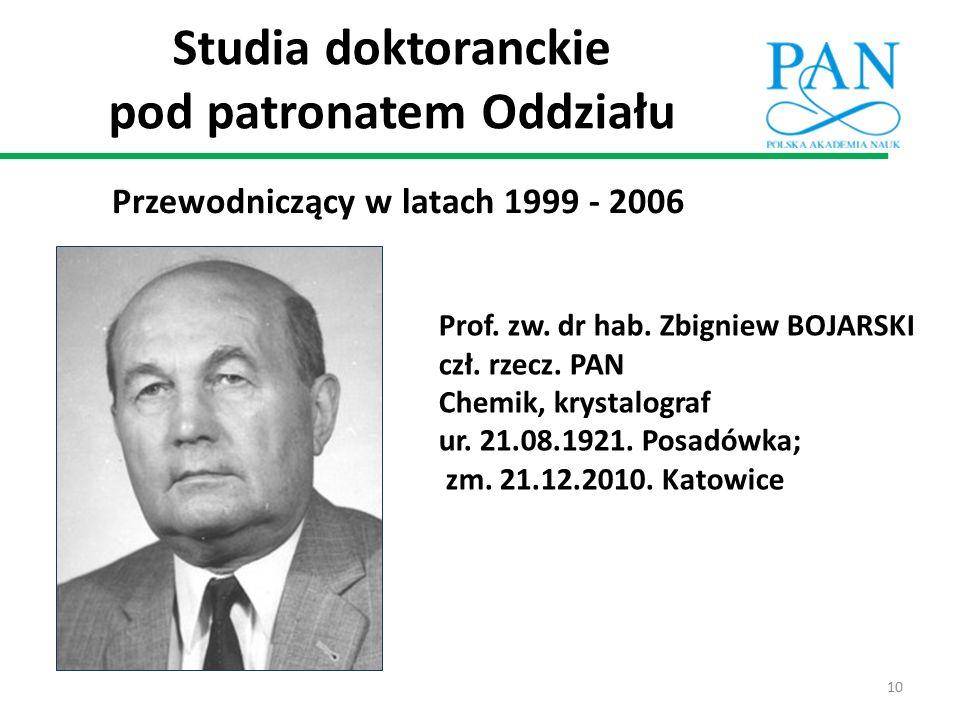 Studia doktoranckie pod patronatem Oddziału Przewodniczący w latach 1999 - 2006 Prof. zw. dr hab. Zbigniew BOJARSKI czł. rzecz. PAN Chemik, krystalogr